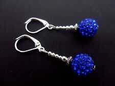 A PAIR OF PRETTY BLUE SHAMBALLA STYLE  DANGLY LEVERBACK HOOK EARRINGS. NEW.