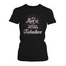 Mein Herz Techniker Damen T-Shirt Spruch Geschenk Idee Freundin Paar Technik Job