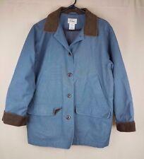 LL Bean Women's Reg Large Blue Flannel Lined Chore Barn Field Coat Distressed