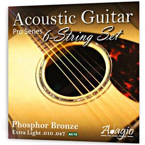 ACOUSTIC GUITAR Strings Set 10-47 Phosphor Bronze Steel Core Extra Light ADAGIO