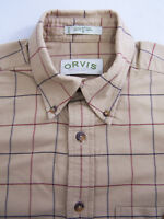 Orvis Checked Shirt Men's Medium Large Loose Brown Blue Red Vintage LSHz740