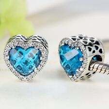 925 Silver Sky Blue Crystal Radiant Hearts,Heart Charm With Cubic Zirconia Studs
