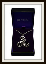 CELTIC TRISKELE SPIRAL PEWTER PENDANT ~ FROM ST JUSTIN FREE P&P ~ MADE IN THE UK