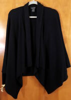 LORD & TAYLOR Size XL Black Cashmere Open Front Asymmetric Cardigan Sweater Top