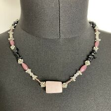 Smooth Rose Quartz Beads Necklace Collar Length Obsidian? Chips Boho