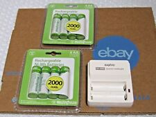 4-Pack x 2 AA Westinghouse Rechargeable Battery 2000 mAh 1.2V Ni-Mh & CHARGER !