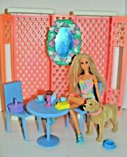 Barbie Doll Garden Playset Gazebo,Furniture, Fully Jointed with her dog Tanner