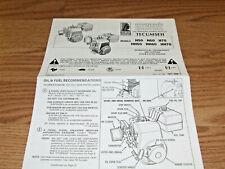 Vintage TECUMSEH  VINTAGE MINIBIKE GO KART ENGINE  MANUAL 6 PAGES H50, HH50,H60,
