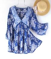 New~Blue & White Summer Rose Peasant Blouse Crochet Lace Boho Plus Size Top~2X