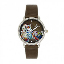 Empress Diana Tiger MOP Dial Olive Green Leather Women's Watch EM3001
