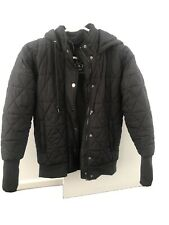 Lorna Jane Black Label Quilted Bomber Jacket With Hood, Batwing Sleeve, Size XS