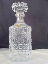 10 Inches Tall French 24% Lead Crstal Clear Square Glass Decanter & Stopper