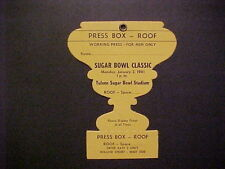 1961 SUGAR BOWL PRESS BOX PASS NM-MT