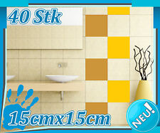 40x Fliesenaufkleber 15x15cm, Aufkleber Bad Küche, Fliesendekor Kacheln 1K017_10