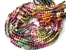 Natural Tourmaline Gemstone Beads Natural Multi Color Round Shape 3mm-4mm  #2030