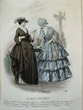 Antique French hand coloured plate from 1850 Les Modes Parisiennes #386 AMAZONE