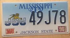 "MISSISSIPPI JACKSON STATE UNIVERSITY  COLLEGE LICENSE PLATE "" 49J78 "" MS  TIGER"