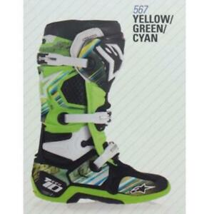 Alpinestars 14 Tech 10 Graphic Decal Kits -  Yellow/Green/Cyan