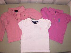 USED POLO RALPH LAUREN SHIRT LOT 12 MONTHS PINK WHITE LONG SLEEVE & SHORT SLEEVE