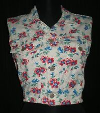 Vintage Bongo Multicolored Floral Print Vest Made in USA sz Jrs S B:34 W:26 L:14