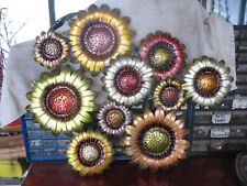 METAL  FLOWERS  WALL  SCULPTURE  w/ METALLIC  FINISH  VINTAGE   VERY  BOLD  !