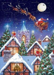 "Traditional Glitter Advent Calendar Santa Rooftops 12"" x 9"""