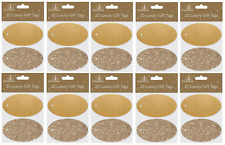 BULK PRICE - Oval Luxury Glitter Christmas Xmas Tags Gold - Pack of 200