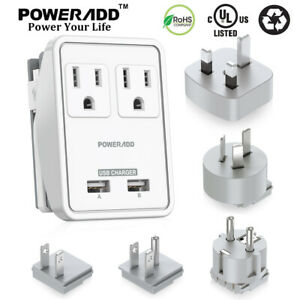 Poweradd Power Strip Surge Protector w/ 2 Outlets & USB Charging Port & Adapter
