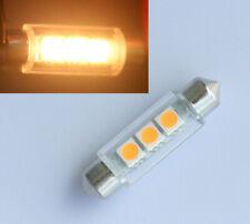 5pcs Warm White 42mm 3 SMD LED Number Plate Light c5w Festoon Dome Bulb 12V