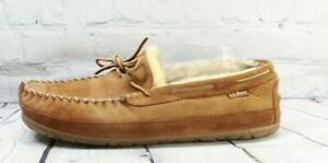 LL BEAN Men's Brown Wicked Good Shearling Moccasin Slippers Size 12 Wide