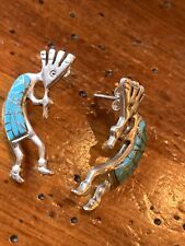 Earrings Sterling Navajo Wr ! Vintage Native American Kokopelli Deity Turquoise