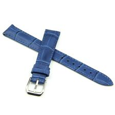14mm Ladies Genuine Calf Leather Wristwatch Watch Strap Band + 2 Pins - BLUE -