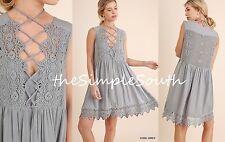 NWT UMGEE Grey Deep-V Intricate Lace-Up Neck Crochet Back Boho Tunic Dress L