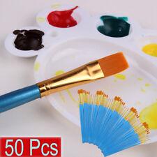 2018 50 Pcs Acrylic Paint Brush Set Nylon Hair Brushes For All Purpose Oil US