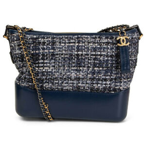 63593 auth CHANEL blue leather & TWEED SMALL GABRIELLE Hobo Shoulder Bag