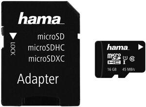 10 Stück  Hama Class 10 microSDHC 16GB Speicherkarte mit Adapter/Foto