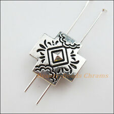 3Pcs Antiqued Silver 2-Hole Cross Spacer Bar Beads Connectors Charms 18.5mm