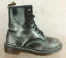 Dr Doc Martens England Black Distressed Ankle Boots Women's  sz 4 UK / US 6