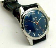 hmt pilot hand winding men steel blue dial para shock vintage india watch run
