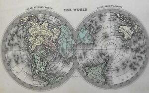 Northern & Southern Hemispheres Polar Maps 1832 Carey & Lea engraved map
