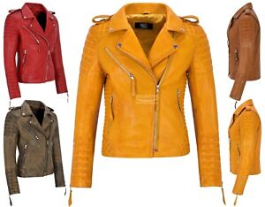 Ladies Leather Jacket Classic Biker Style 100% REAL NAPA LEATHER 2260
