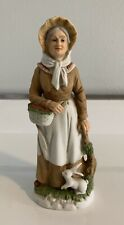 Homco Vtg #1409 Woman Grandmother Figurine Fruit Basket Bunny Rabbit #34