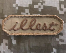 ILLEST TAB US ARMY USA MILITARY ILL ISAF TACTICAL DESERT MORALE HOOK PATCH