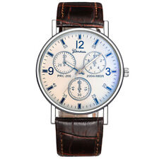 Luxury Mens Casual Business Watch Stainless Steel Leather Band Strap Wrist Watch