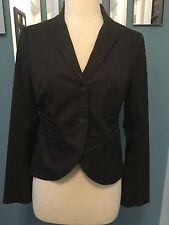 NWT Rozae Nichols Brown Virgin Wool w/ Red Stitching Blazer Jacket Size 6