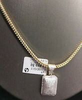 REAL 10K Yellow Gold & Genuine 1/2 CT Diamond Charm Pendant Men / Women Cross