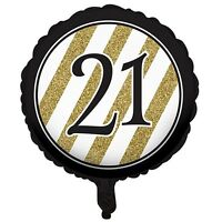 """BLACK & GOLD Birthday Party 18"""" Foil Helium Balloon (Ages 18-100 Decorations)"""