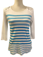 $68 NWT New Orly from Stitch Fix Blue White Nautical 3/4 Sleeve Womens Top Small