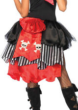 Pirate Bustle Red Black & White 4 Layer Pin On Skirt Bustle With Bow Costume Acc