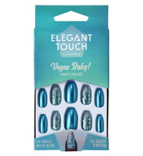 Elegant Touch Vegas Baby Party Palace Blue Glitter Nails
